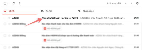 thông tin gói hosting