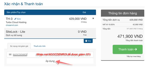 cách áp dụng mã giảm giá khi mua hosting