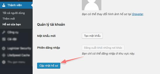hướng dẫn thay đổi ngôn ngữ khu vực admin của wordpress