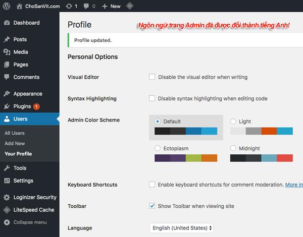 đổi ngôn ngữ trang dashboard wordpress