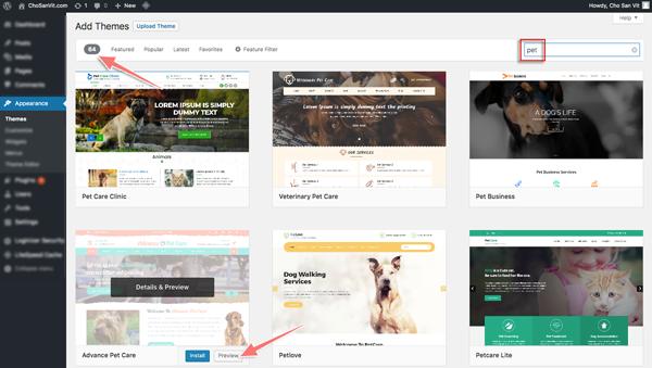 cách cài theme cho blog wordpress